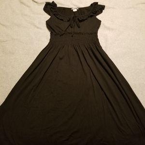 Delia's Smocked Waist A-line Black Midi Dress S
